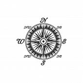 Compass Symbol And Sign, Isolated Vector Marine Navigation Element. Rose Of Wind Heraldic Monochrome poster
