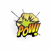 Comic Book Sound Blast, Wow Bubble Cartoon Halftone Icon. Vector Wow Sound Blast Explosion, Pop Art  poster