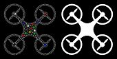 Flare Mesh Air Copter Icon With Glitter Effect. Abstract Illuminated Model Of Air Copter. Shiny Wire poster