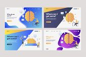 Collection Of Employees Analyzing Efficiency. Flat Vector Illustrations Of Brains, Devices, Infograp poster