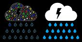 Glowing Mesh Thunderstorm Rain Cloud Icon With Lightspot Effect. Abstract Illuminated Model Of Thund poster