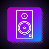 White Line Stereo Speaker Icon Isolated On Black Background. Sound System Speakers. Music Icon. Musi poster