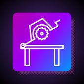 White Line Table Saw For Woodwork Icon Isolated On Black Background. Power Saw Bench. Square Color B poster