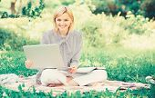 Become Successful Freelancer. Woman With Laptop Sit On Rug Grass Meadow. Online Freelance Career Con poster
