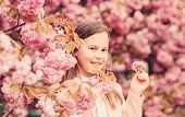 Sniffing Flowers. Girl Enjoying Floral Aroma. Pollen Allergy Concept. Kid Enjoy Cherry Blossom Sakur poster