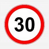 Road Sign Maximum Speed 30 Km/h. Speed Limit Sign: Maximum Speed 30. poster