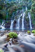 Scenic view of Langevin Waterfall on Reunion Island with slow motion blur.