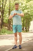 Sport Coach. Sport Wellbeing And Self Care. Handsome Man Sporty Outfit Look Confident. Male Beauty.  poster