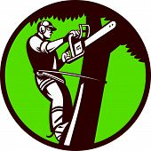 stock photo of chainsaw  - Illustration of a tree surgeon arborist trimmer pruner cutting with chainsaw climbing tree set inside circle done in retro style - JPG