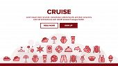 Cruise Travel Landing Web Page Header Banner Template Vector. Cruise Ship And Steering Wheel, Island poster