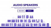 Audio Music Speakers Landing Web Page Header Banner Template Vector. Electronic Acoustic Audio Sound poster