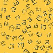 Blue Line Industrial Machine Robotic Robot Arm Hand Factory Icon Isolated Seamless Pattern On Yellow poster