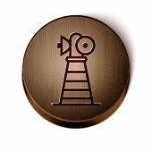 Brown Line Antenna Icon Isolated On White Background. Radio Antenna Wireless. Technology And Network poster