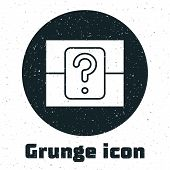 Grunge Mystery Box Or Random Loot Box For Games Icon Isolated On White Background. Question Box. Vec poster