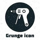 Grunge Electric Hot Glue Gun Icon Isolated On White Background. Hot Pistol Glue. Hot Repair Work App poster