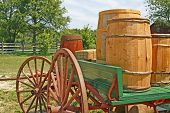 foto of wagon wheel  - Photo of old western style wagon with supplies - JPG