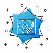 White Line Vinyl Player With A Vinyl Disk Icon Isolated On White Background. Blue Hexagon Button. Ve poster