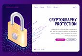 Cryptography Protection, Vector Web Banner Isometric Concept. Large Lock With Combination Lock And E poster
