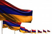 Nice Many Armenia Flags Placed Diagonal Isolated On White With Place For Your Content - Any Feast Fl poster