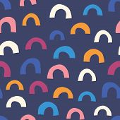 Abstract Half Circle Doodle Shapes Orange Pink White On Blue Background Seamless Vector Pattern. Geo poster