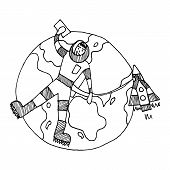 Black And White Linear Drawing Of An Astronaut Flying Over Our Planet Earth. It Is Connected By Cabl poster