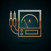 Gold Line Ampere Meter, Multimeter, Voltmeter Icon Isolated On Dark Blue Background. Instruments For poster