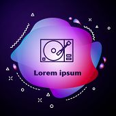 Purple Line Vinyl Player With A Vinyl Disk Icon Isolated On Blue Background. Abstract Banner With Li poster