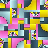 Artistic Pattern With Eyes In Geometric Shapes Grid Mondrian Avant Garde Fashion Textile Print. Mode poster