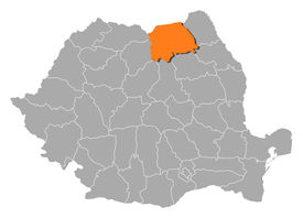 image of suceava  - Political map of Romania with the several counties where Suceava is highlighted - JPG