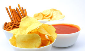 image of potato chips  - Chips snacks and hot salsa dip sauce - JPG