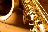 pic of sax  - Sax golden tenor saxophone in vintage retro background - JPG