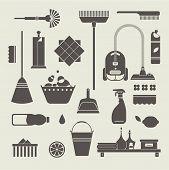 image of wiper  - Vector set of stylized cleaning tools icons - JPG