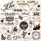 Collection Of Ornate Vector Ands And Thes Perfect For Headlines Design