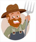 image of hillbilly  - Happy Funny Cartoon Farmer Character Holding an Spade Vector Illustration - JPG