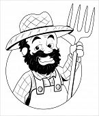 stock photo of hillbilly  - Drawing Art of Cartoon Farmer Character Sketching Vector Illustration - JPG