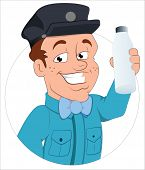 stock photo of milkman  - Drawing Art of Happy Cartoon Milkman Character Vector Illustration - JPG
