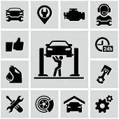 stock photo of auto garage  - Garage icons - JPG