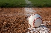 foto of infield  - Baseball Close Up on the Infield Chalk Line - JPG