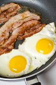 Bacon And Eggs Cooking In A Frying Pan poster