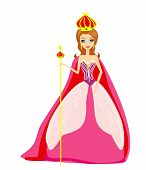 picture of reign  - A vector illustration of cartoon queen on white background - JPG
