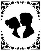 pic of amor  - Black and white silhouettes of loving couple - JPG