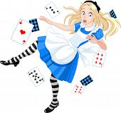 stock photo of alice wonderland  - Alice is falling down into the rabbit hole - JPG