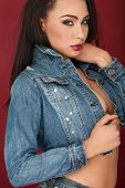 Seductive beautiful woman in a trendy denim top giving a sultry look while standing sideways over a