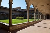 Internal courtyard of basilica Santa Croce in Florence Italia.