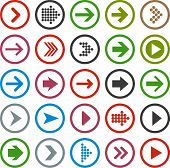 foto of arrowheads  - Vector illustration of plain round arrow icons - JPG