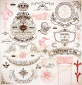 Set of calligraphic design elements: Heraldry, labels, baroque frames and floral ornaments collectio