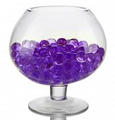 Transparent vase with hydrogel isolated on white poster