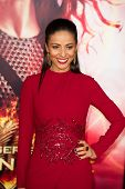 LOS ANGELES, CA - NOVEMBER 18: Actress Meta Golding arrives at the premiere of The Hunger Games: Cat