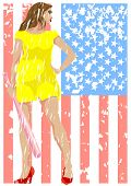 pic of fastpitch  - Young girl in a dress with a bat in his hands and american flag - JPG