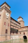 picture of ferrara  - Clock on Estense Castle - JPG